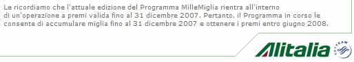 Alitalia e le Miglia squalificanti